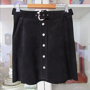 Zara Woman NWT Suede Leather Button up Mini Skirt